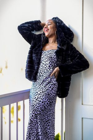 leopard print, slip dress, how to style a slip dress for the holidays, leopard slip dress, purple dress, purple slip dress, walmart faux fur coat, mink coat, how to style a faux fur coat for the holidays, holiday coat, fur coat, black short fur coat, walmart fashion