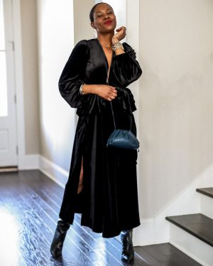 holiday alternative outfits for nye, what to wear at home for new year's eve, silk dress, navy dress, how to style a black velvet dress, velvet dress, how to style a velvet dress, top shop dress