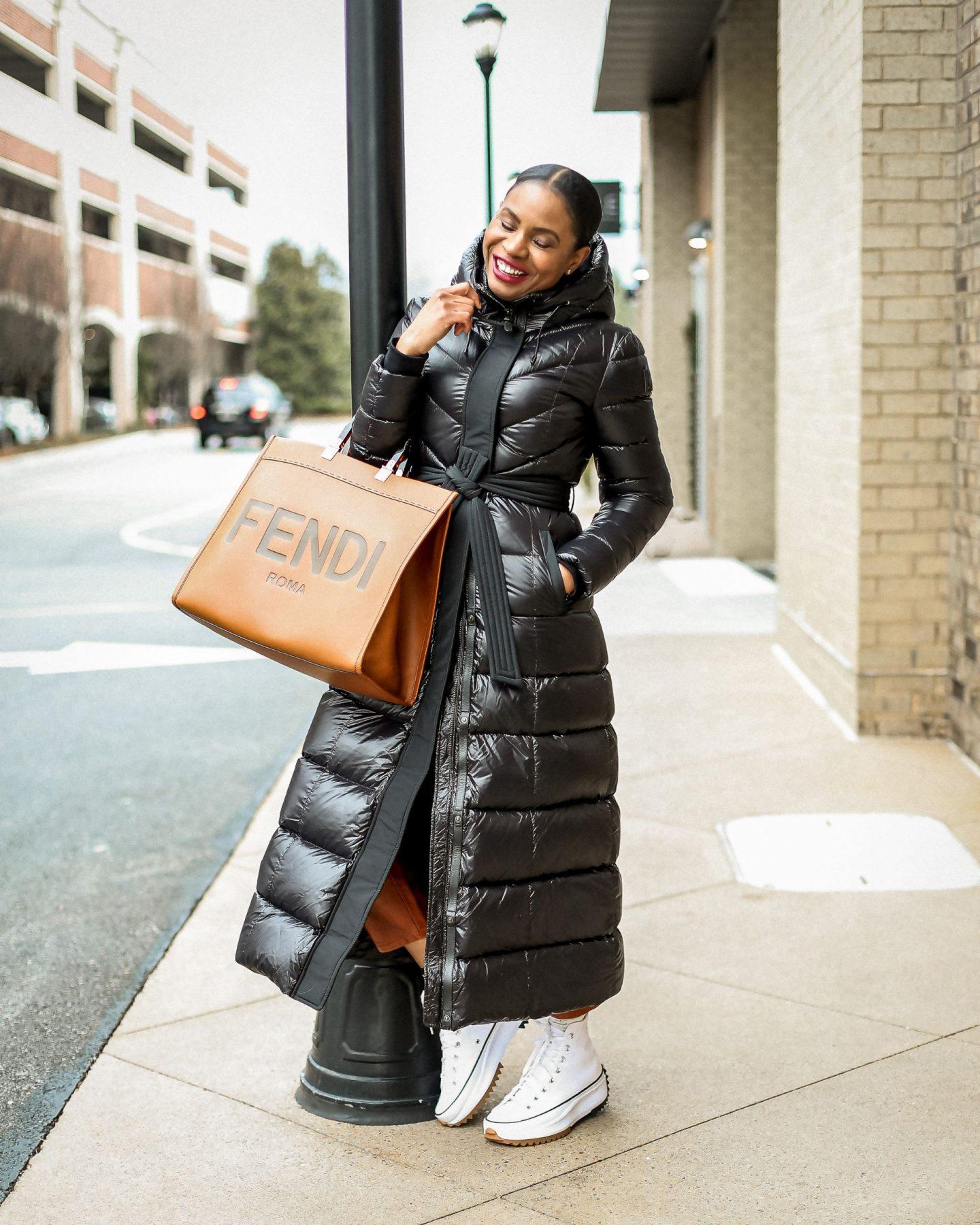 mackage maxi puffer coat, puffer coat, long puffer coat, winter essentials, fendi sunshine tote, converse sneakers converse platform sneakers