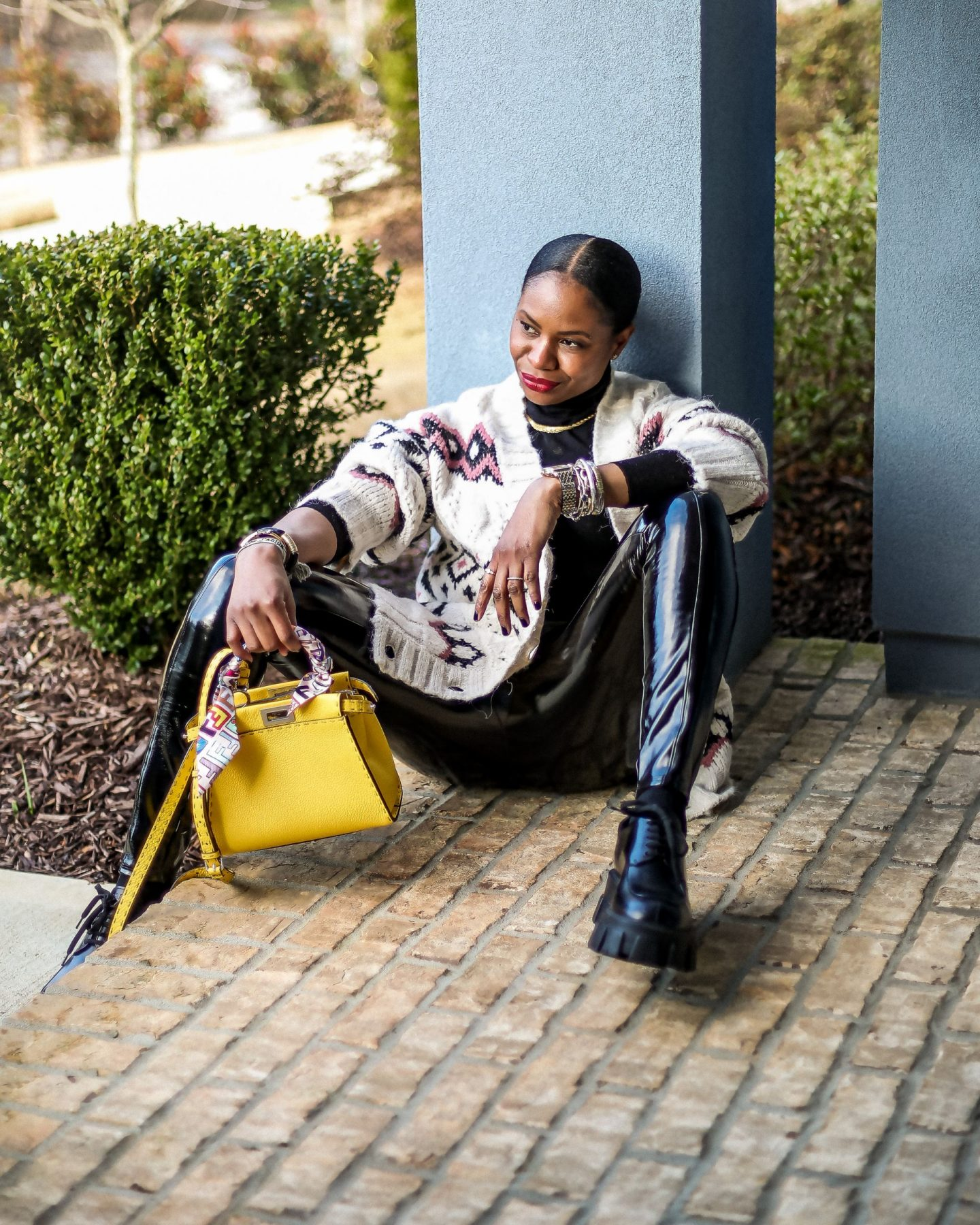 fendi, fendi yellow peekaboo bag, cuoio romano leather, zara sweater, patent leather pants, faux leather leggings, spanx leggings, prada shoes