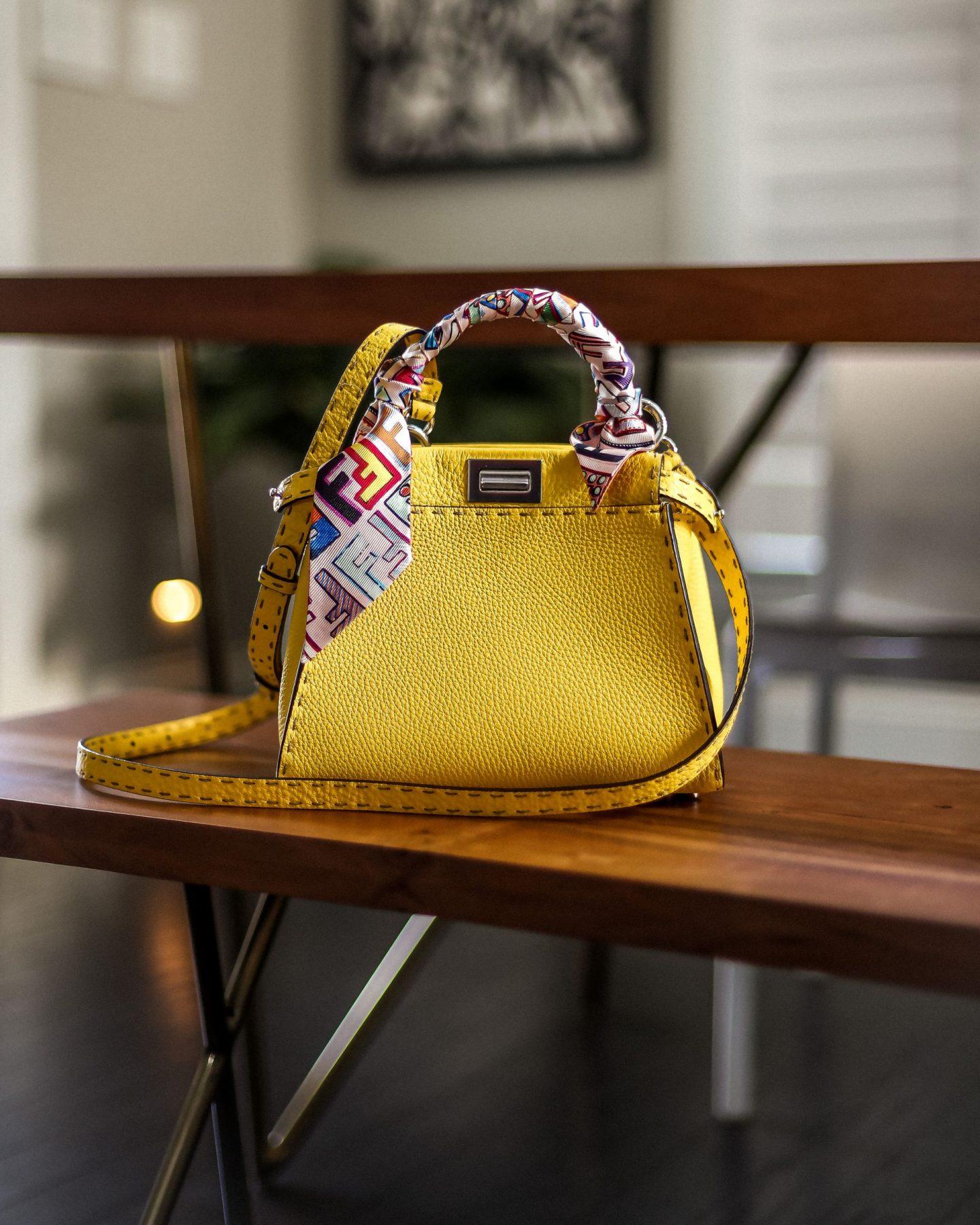 yellow peekaboo bag, fendi bag